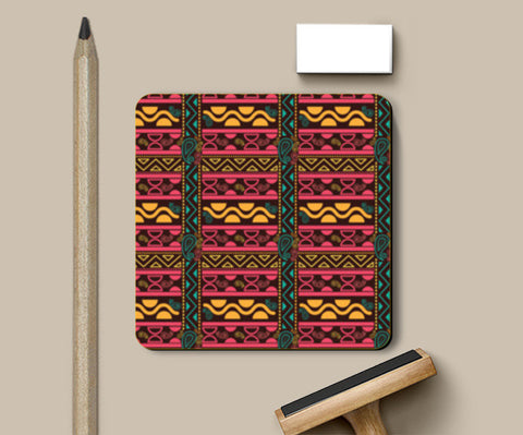 Abstract geometric pattern african style Coasters | Artist : Designerchennai