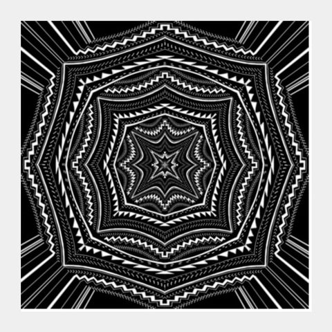 Black And White Abstract Digital Illustration Psychedelic Art Background Square Art Prints | Artist : Seema Hooda