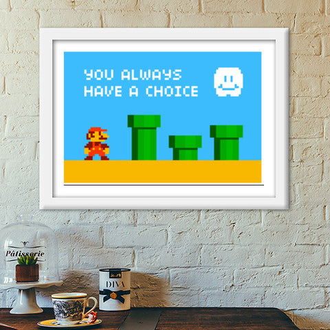 Pixelvana | You always have a choice | pixel motivation Premium Italian Wooden Frames | Artist : 8bitbaba