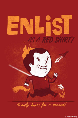 Wall Art, Enlist - Red | By Captain Kyso, - PosterGully - 1