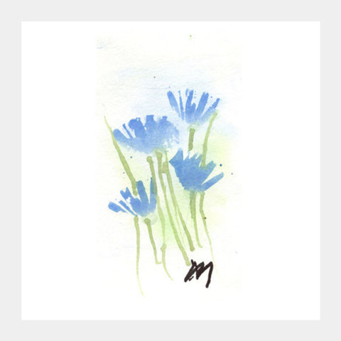 Cornflower Watercolour Square Art Prints | Artist : Manas Arvind