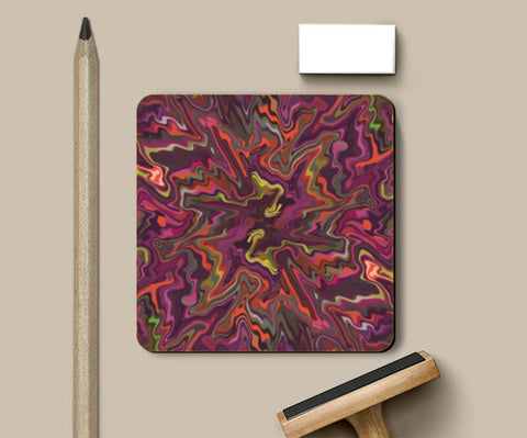 Colorful Abstract Chaos Art Design Coasters | Artist : Seema Hooda