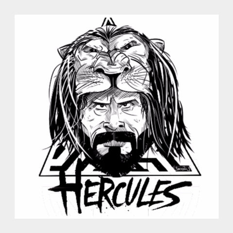 Square Art Prints, Hercules Black and White Artwork | Artist: Sachin Sivakumaran, - PosterGully