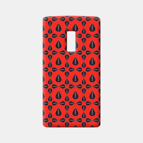 Seamless pattern with leaves on red background One Plus Two Cases | Artist : Designerchennai