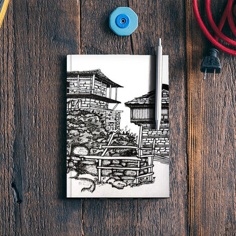 Huts of Nakthan Village Notebook | Artist : Rahul Tanwar