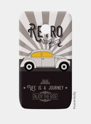 Retro vintage car on gray Moto E Cases | Artist : Designerchennai