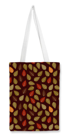 Seamless pattern with multicolored leaf on dark background Tote Bags | Artist : Designerchennai