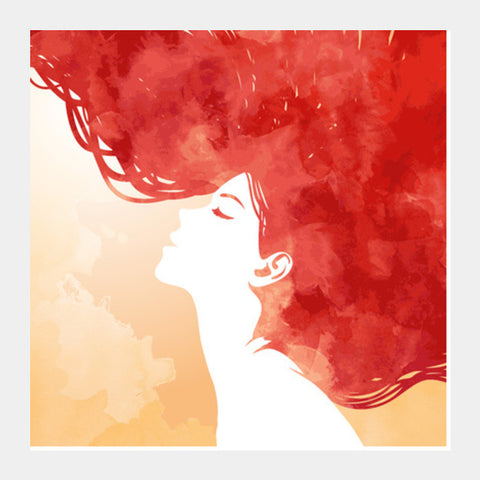 Square Art Prints, Red Girl Inspiration Square Art Prints | Artist : Pranit Jaiswal, - PosterGully