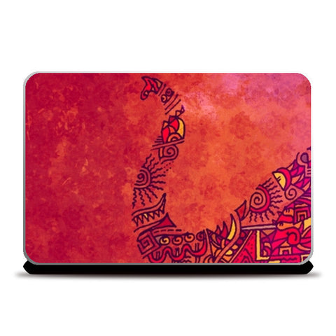 Laptop Skins, Elephant Zenscrawl Red Laptop Skins | Artist : Meghnanimous, - PosterGully
