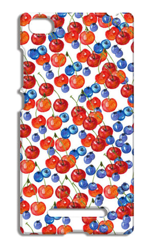 Red Cherries And Blueberries Watercolor Fruit Pattern Xiaomi Mi 4i Cases | Artist : Seema Hooda