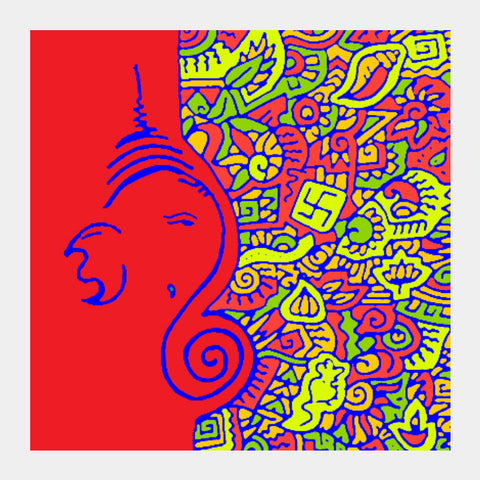 Square Art Prints, Ganesh Zenscrawl Square Art | Meghnanimous, - PosterGully