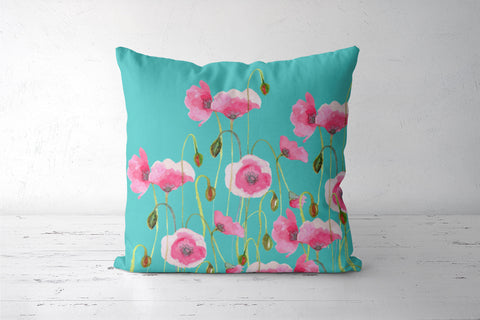 Blooming Pink Poppy Flowers Design Mint Floral  Cushion Covers | Artist : Seema Hooda