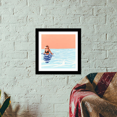Smell the sea, feel the breeze, hear the ocean, be at ease. Premium Square Italian Wooden Frames | Artist : devika art