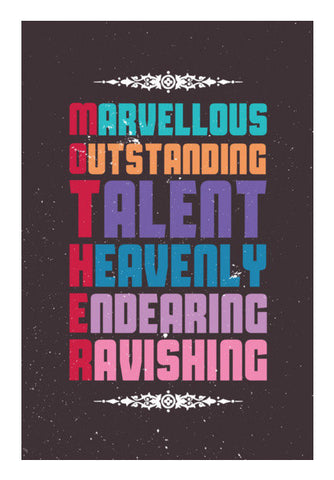 Marvellous Meaning Of Mother Typography Art PosterGully Specials