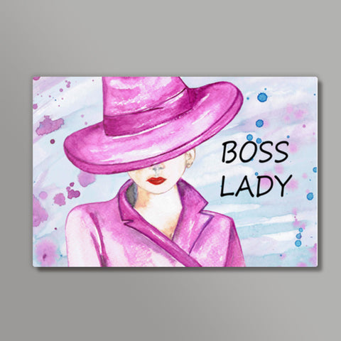 Boss Lady Silhouette Watercolor Art Design Metal Prints | Artist : Seema Hooda
