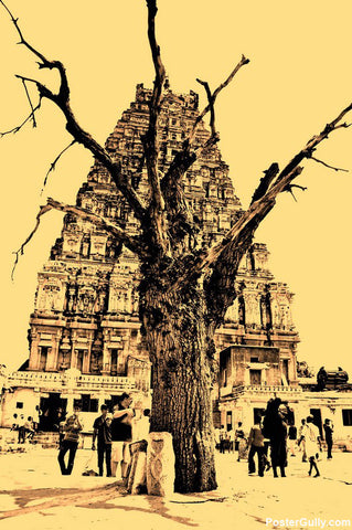 Wall Art, Hampi Tree Artwork | Artist: Louis Olakkengal, - PosterGully - 1