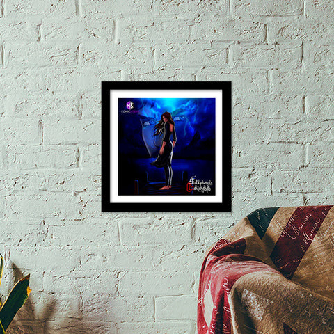 Premium Square Italian Wooden Frames, Mysterious Girl at a Blue Lake: Sivappu Kal Mookuthi Tamil Comics Merchandise Premium Square Italian Wooden Frames | Artist : Nandhini JS, - PosterGully - 1