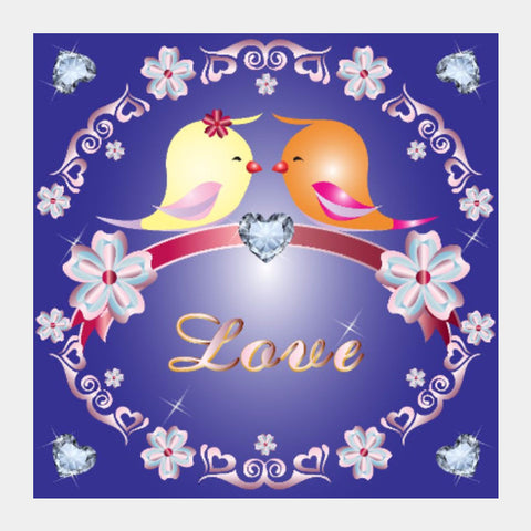 Square Art Prints, Love Birds Square Art Print | Madhumita Mukherjee, - PosterGully