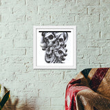 skull inside out abstract modern art Premium Square Italian Wooden Frames | Artist : akash biyani