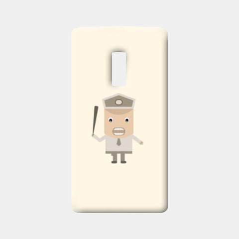 Cartoon policeman with stick One Plus Two Cases | Artist : Mani Selvam
