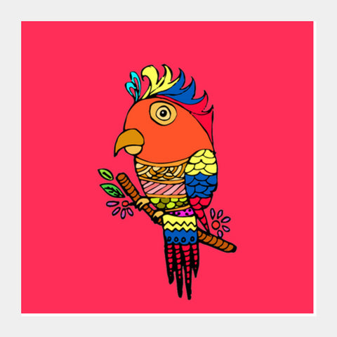 Lovely Parrot Square Art Prints | Artist : Design_Dazzlers