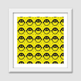 Monkey tongue out on black and yellow Premium Square Italian Wooden Frames | Artist : Designerchennai