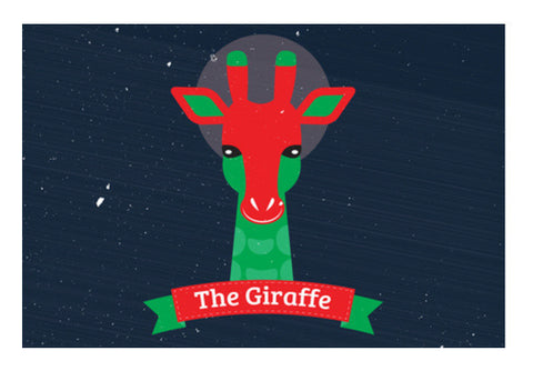 Giraffe Red With Green Art PosterGully Specials