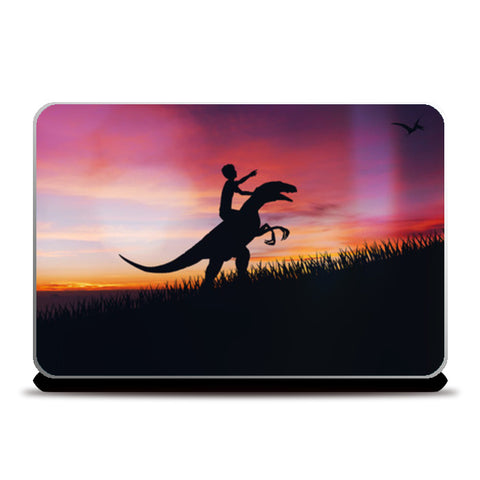 BOY WITH DINO Laptop Skins | Artist : Ayush Yaduvanshi