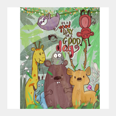 Jungle Kid Square Art Prints PosterGully Specials