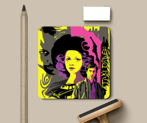 Coasters, Taxi Driver yellow pink gray Coaster | Aniket Trivedi, - PosterGully