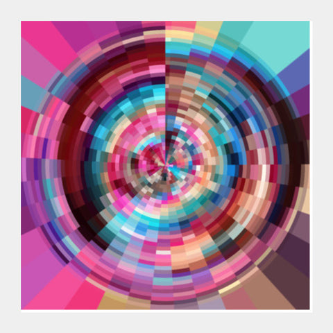 Colorful Wheel Round Abstract Art Psychedelic Square Art Prints | Artist : Seema Hooda