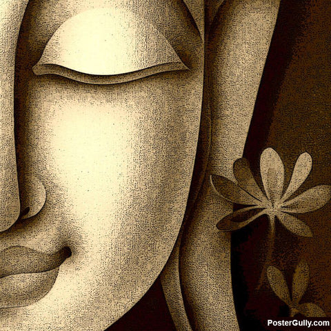 Brand New Designs, Buddha Half Face Artwork | Artist: Pradeesh K, - PosterGully