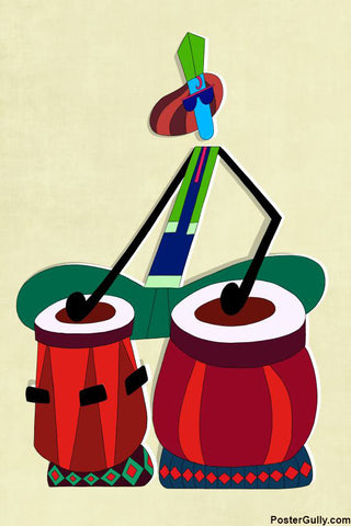 Wall Art, Minimal Tabla Artwork | Artist: Prashant Shikare, - PosterGully - 1