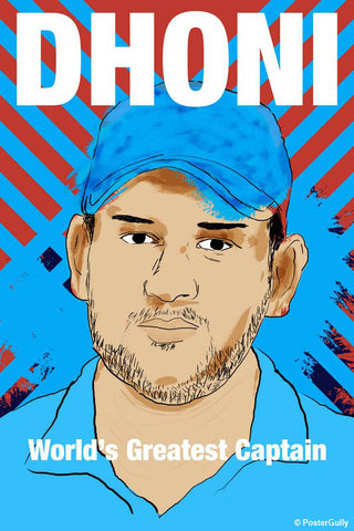 Wall Art, Dhoni Portrait Cricket Captain, - PosterGully - 1
