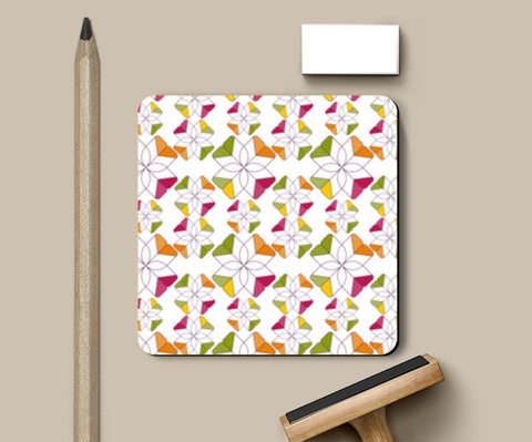 Flowers Retro Shapes Geometric Pattern On Multicolor Coasters | Artist : Designerchennai