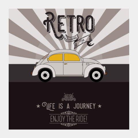 Retro vintage car on gray Square Art Prints | Artist : Designerchennai