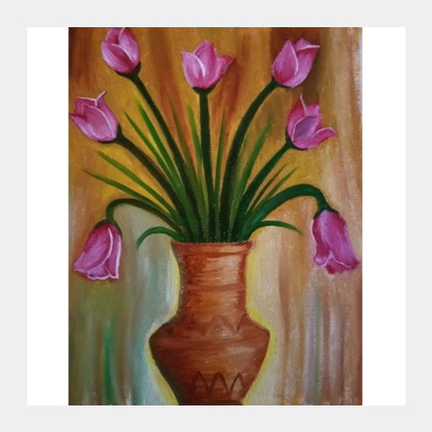 Square Art Prints, Flower Vase Oil Painting Square Art Prints | Artist : kalhari hettiarachchi, - PosterGully