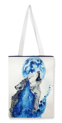 Tote Bags, Wolf Blue  Tote Bags | Artist : Sukanya Chakraborty, - PosterGully