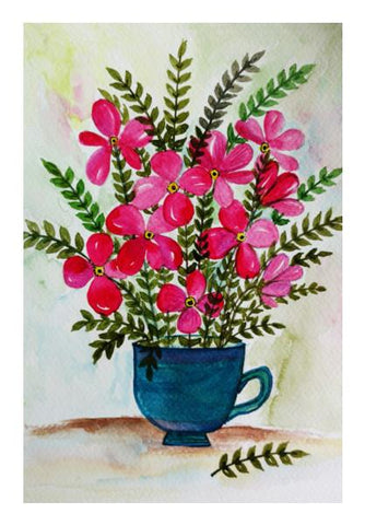 PosterGully Specials, Teacup With Flowers Painting Wall Art | Artist : Seema Hooda | PosterGully Specials, - PosterGully