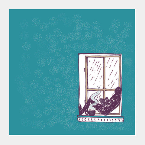 Square Art Prints, Reading in the rain Square Art Prints | Artist : Poornima Kumar, - PosterGully