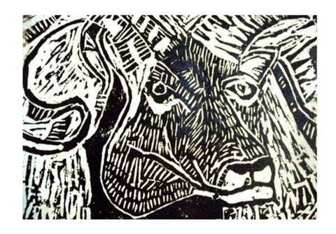 PosterGully Specials, The Ram- Linocut Wall Art | Artist : Papo Mukherjee, - PosterGully