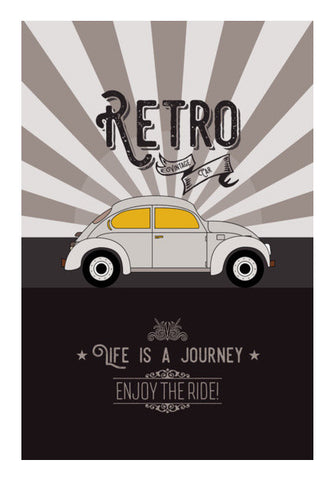 Retro vintage car on gray Wall Art | Artist : Designerchennai
