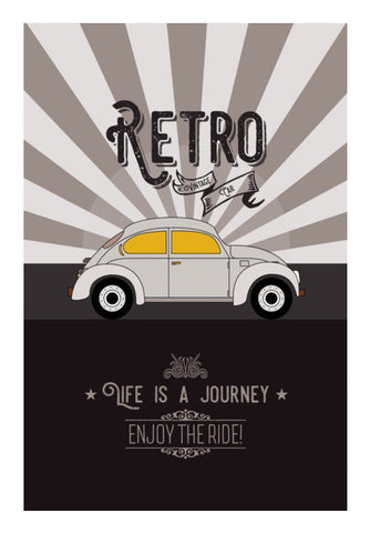 Retro Vintage Car On Gray Art PosterGully Specials