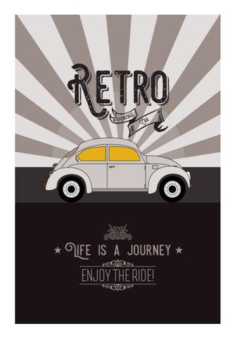 PosterGully Specials, Retro vintage car on gray Wall Art | Artist : Designerchennai, - PosterGully