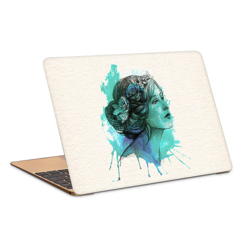 Woman With Floral Wreath Watercolor Artwork Laptop Skin