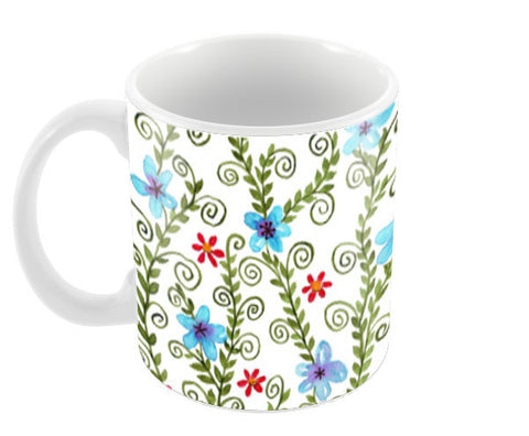 Modern Hand Painted Watercolor Floral Design Pattern Coffee Mugs | Artist : Seema Hooda