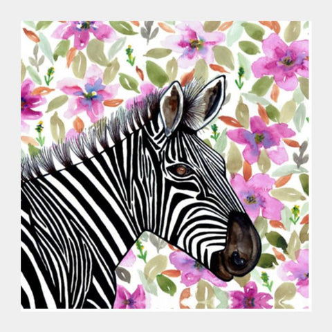 Watercolor Zebra Floral Animal Illustration Decorative Wall Art Square Art Prints PosterGully Specials