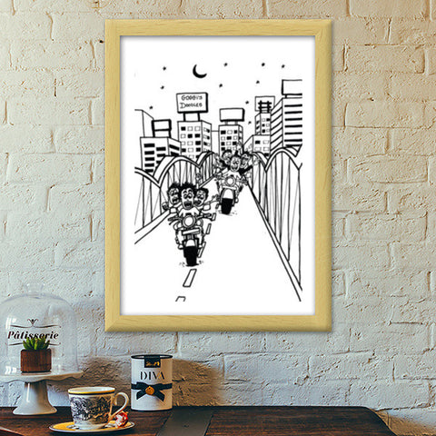 Premium Italian Wooden Frames, Boy's Hangouts in Ahmedabad..!! Premium Italian Wooden Frames | Artist : Goggi's Doodles, - PosterGully - 1