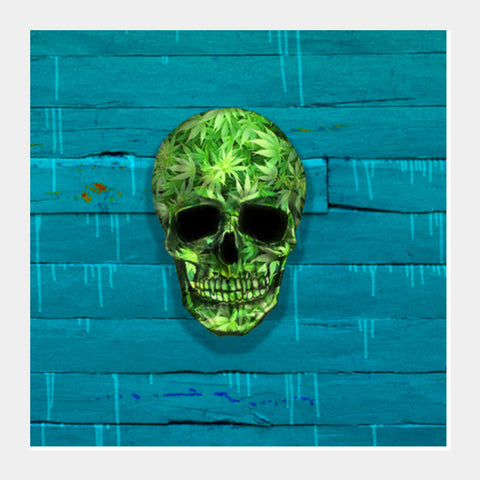 Square Art Prints, Weed Skull Square Art Prints | Artist : Dr. Green, - PosterGully