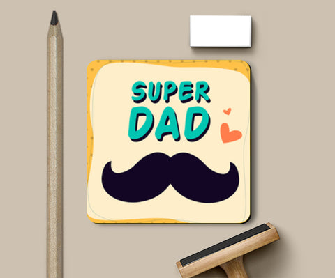 Super Dad Mustache Father's Day Coasters | Artist : Creative DJ